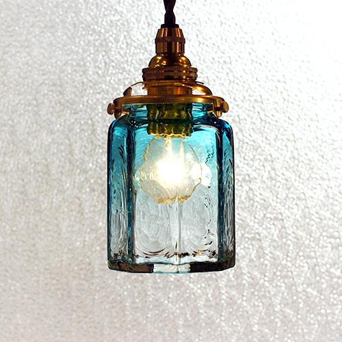 【予約注文】安土草多 ペンダントライト [E17] 八角筒瓶 青透き被せ