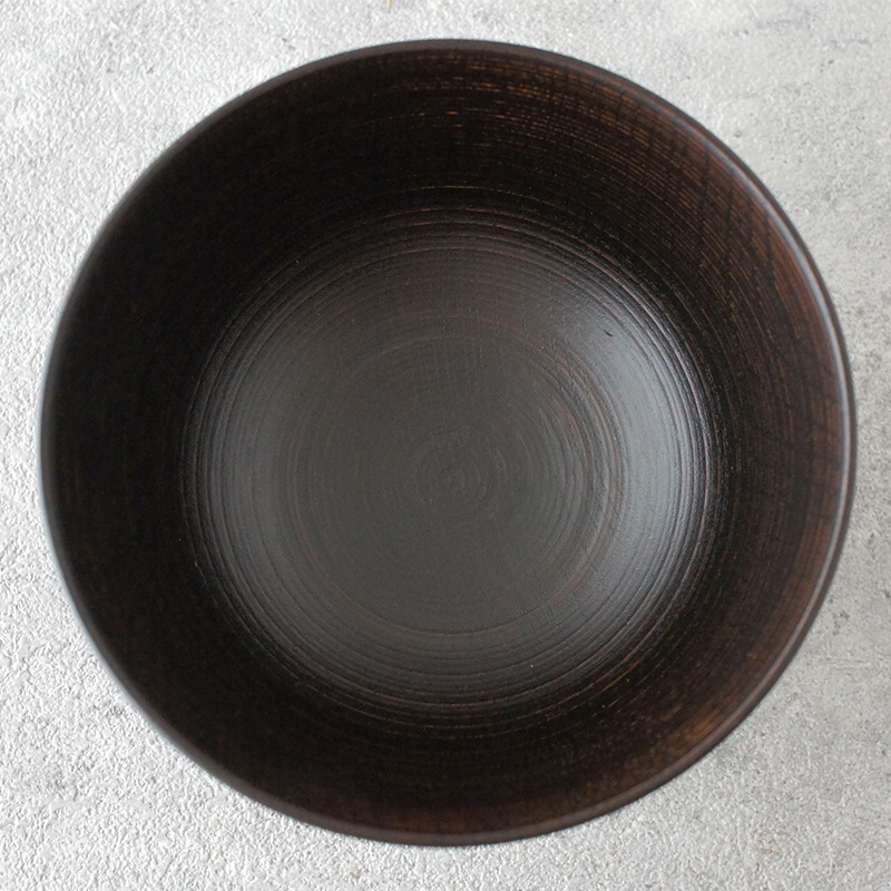 蝶野秀紀 欅筋目飯椀φ4茶