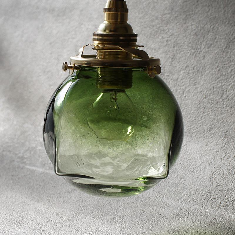 安土草多|ペンダントライト [E17] 角球 緑透き被せ