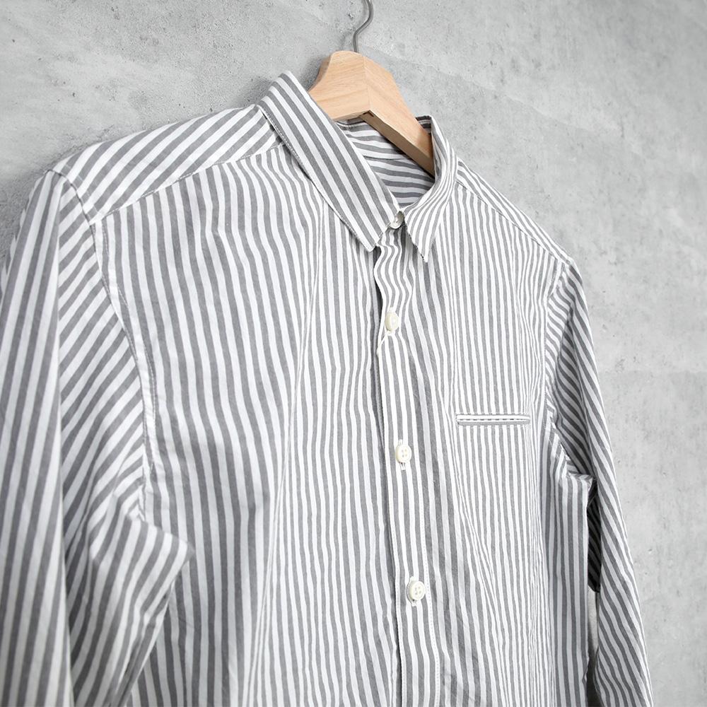 HUIS|オーガニックコットンストライプシャツ Gray stripe【ユニセックス】