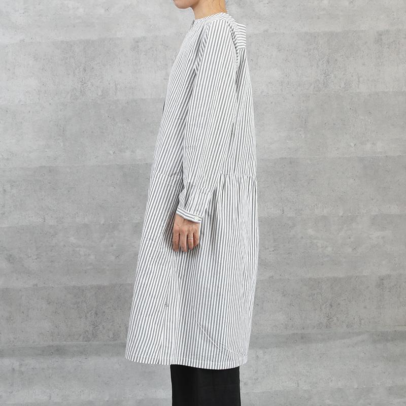 HUIS|オーガニックコットンワンピース stripe gray