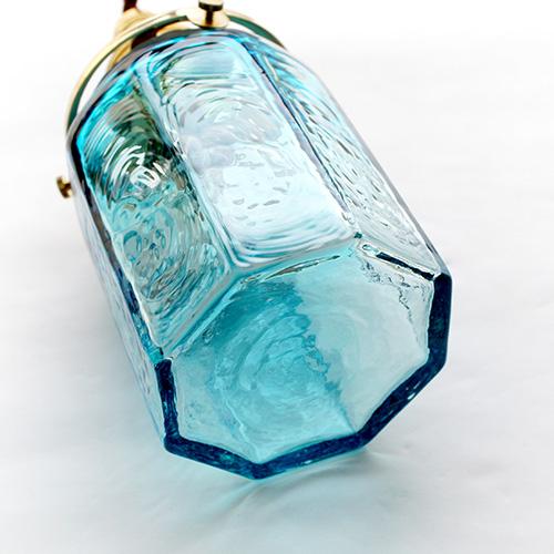 安土草多|ペンダントライト [E17] 八角筒瓶 青透き被せ