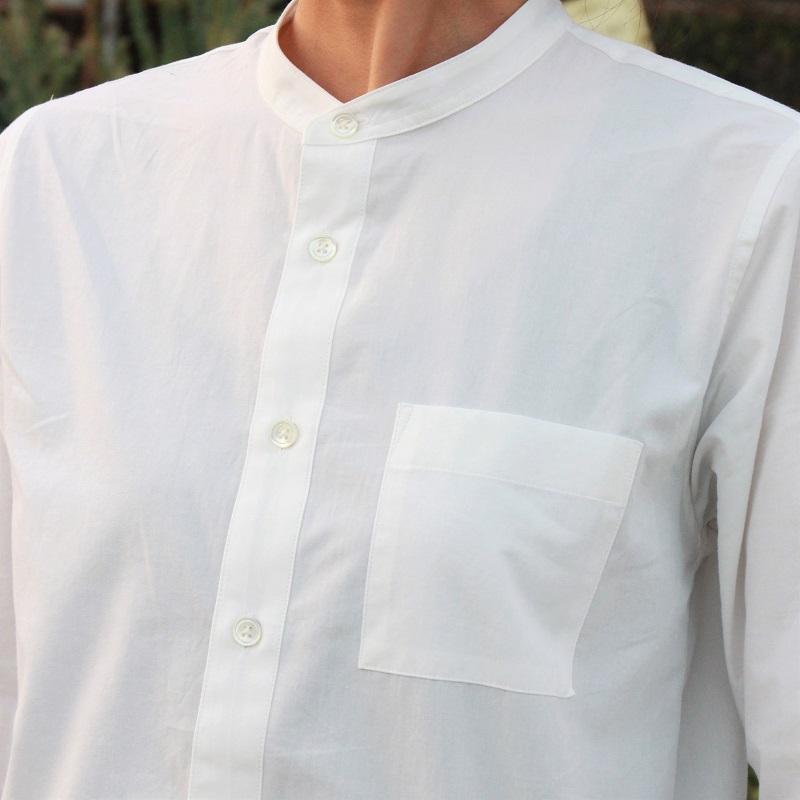 HUIS|やわらかコットンバンドカラーコットンシャツ white【ユニセックス】