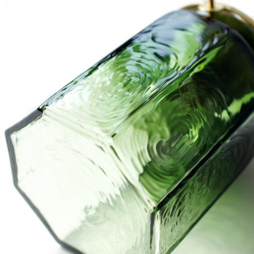 安土草多|ペンダントライト [E17] 八角筒瓶 緑透き被せ