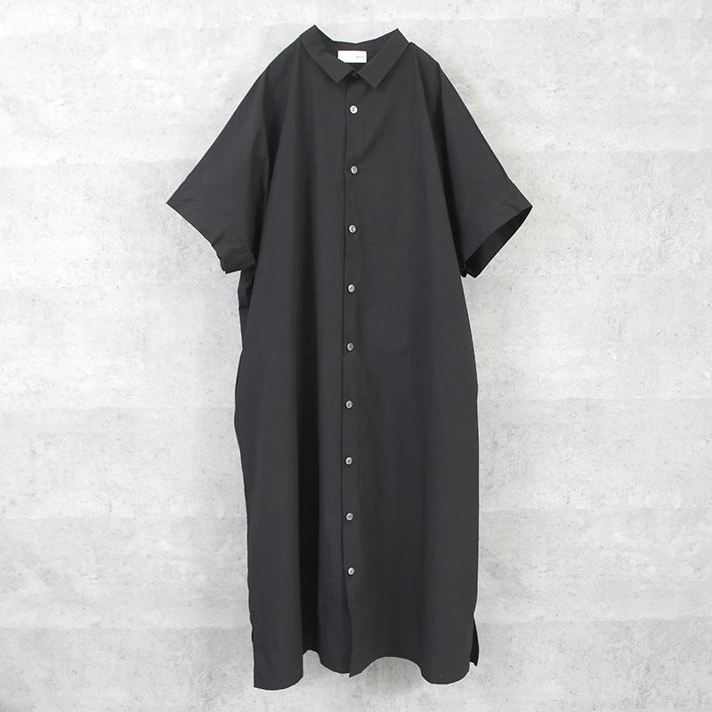 HUIS タイプライタークロスショートスリーブロングシャツ black【ユニセックス】