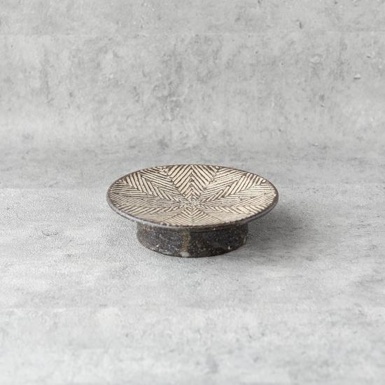 池田大介 ヘリンボーン 4寸高台皿