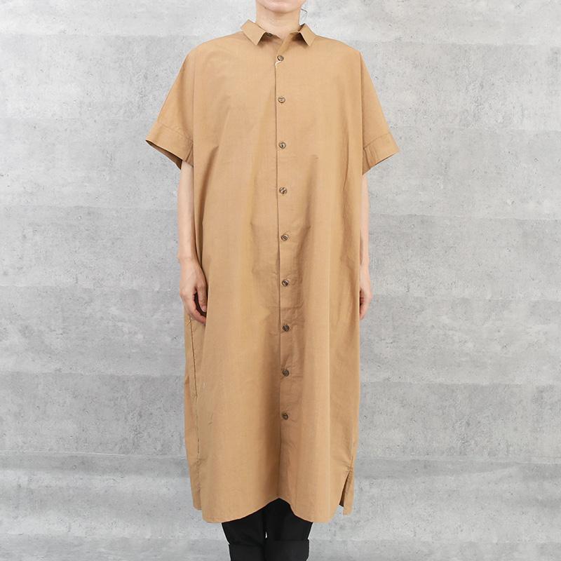 HUIS|タイプライタークロスショートスリーブロングシャツ brown【ユニセックス】