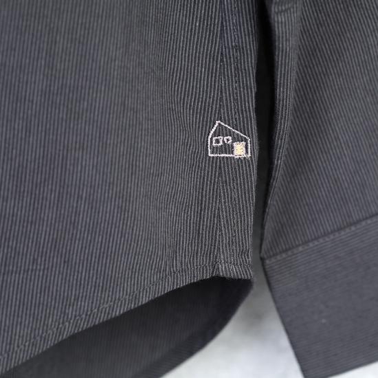 HUIS|コードレーンワイドブラウス BLACK stripe