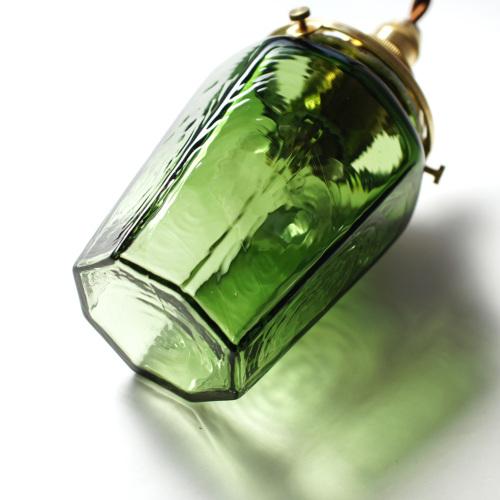 安土草多|ペンダントライト [E17] 八角瓶 緑透き被せ