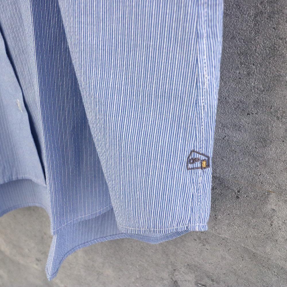 HUIS|コードレーンワイドブラウス BLUE stripe