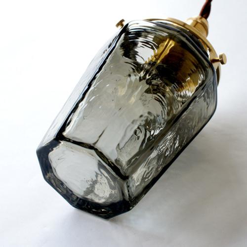安土草多 ペンダントライト [E17] 八角瓶 墨透き被せ
