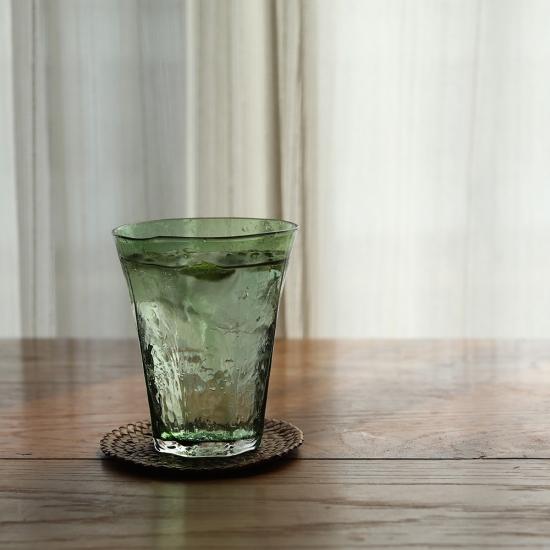 安土草多|八角グラス 緑透き被せ 大