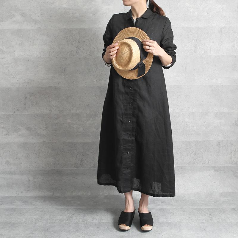 fog linen work フェイス ワンピース ブラック