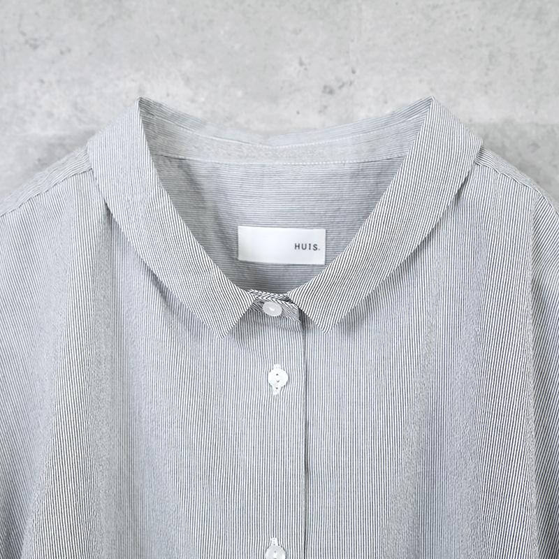 HUIS|コードレーンワイドブラウス stripe gray