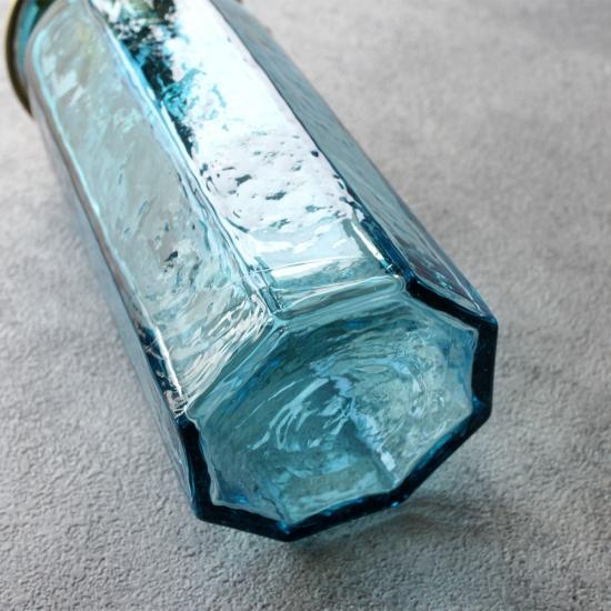 安土草多|ペンダントライト [E17] 八角細筒瓶 青透き被せ