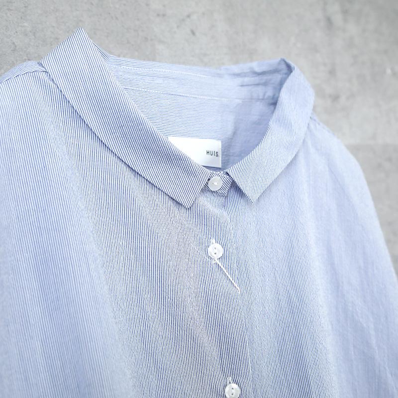 HUIS|コードレーンワイドブラウス stripe blue