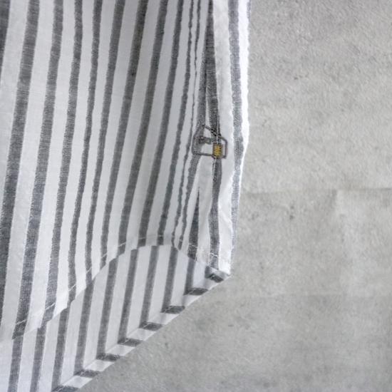 HUIS|空羽コードレーンワイドブラウス BLACK stripe