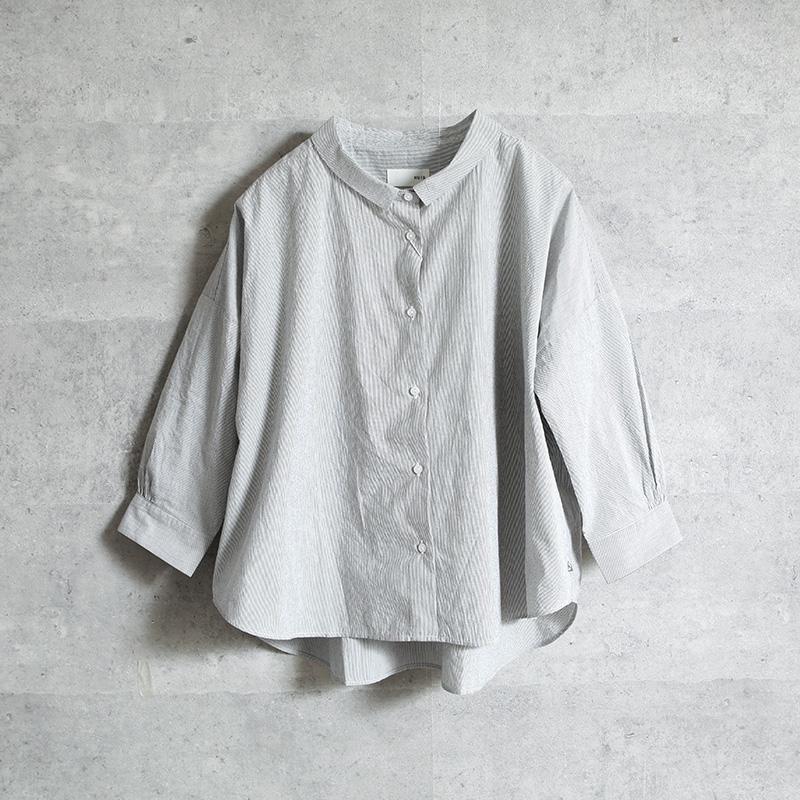 HUIS 8分袖コードレーンワイドブラウス gray