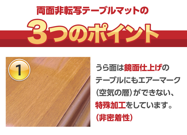 両面非転写テーブルマットBタイプ(非密着性タイプ)定型サイズ2mm厚 すべり止めシール付