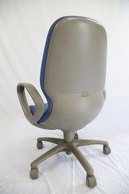 オフィスチェア ハイバック 肘付 青色/事務椅子