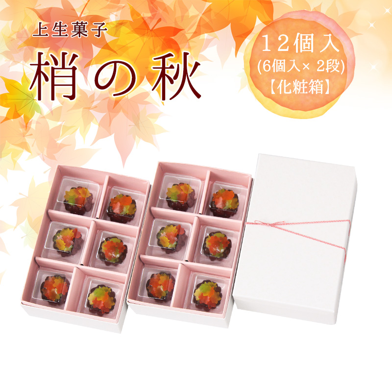 上生菓子「梢の秋」12個入(6個入×2段・化粧箱) 賞味期限:冷凍30日間