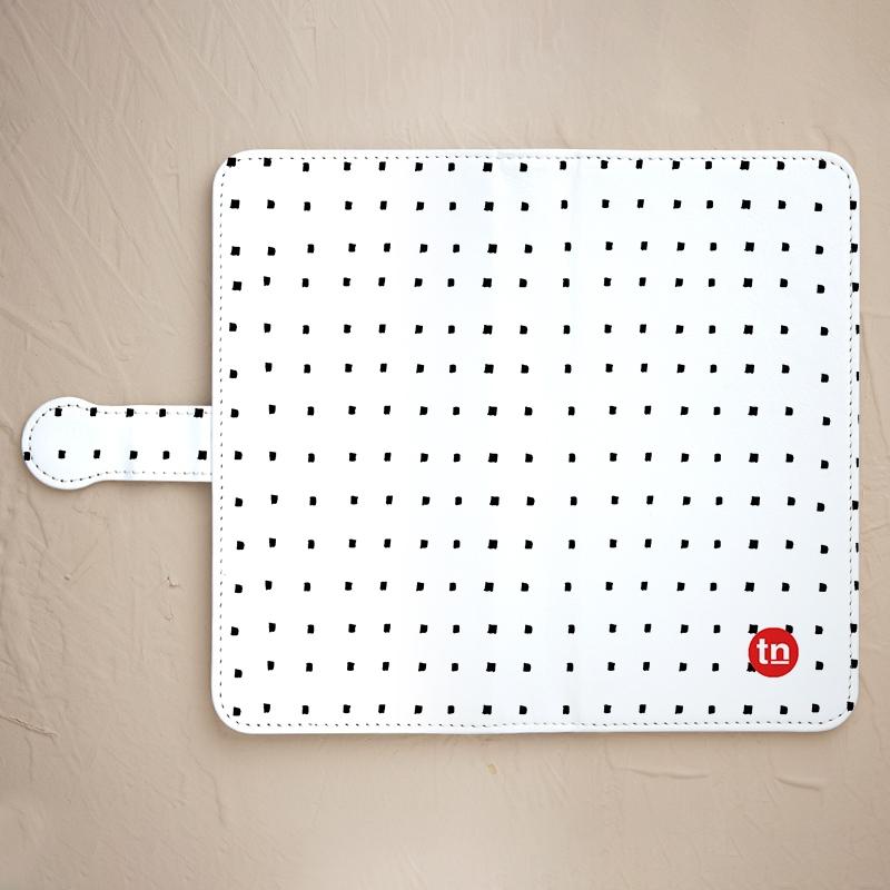 【手帳型】四角ドット柄 ホワイト