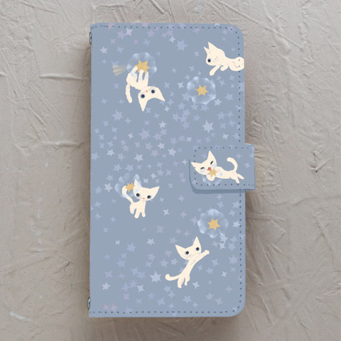 【手帳型】願い星とネコ シロ