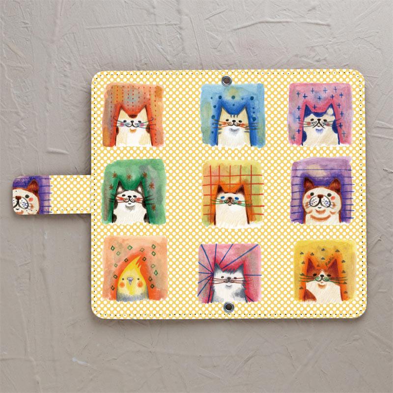 【鏡付き手帳型】猫だらけに犬と鳥