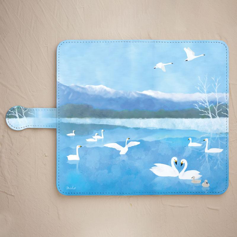 【鏡付き手帳型】北アルプスと白鳥