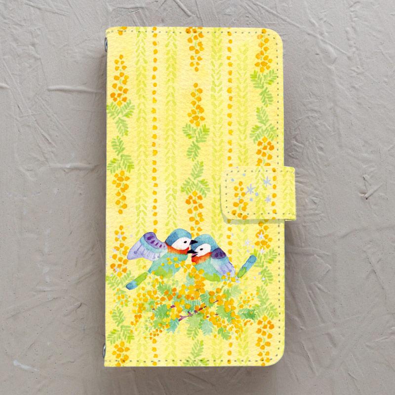 【手帳型】ミモザの小鳥