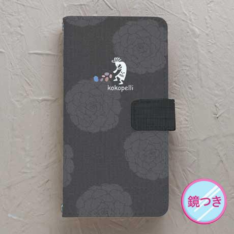 【鏡付き手帳型】ココペリ 黒系花柄