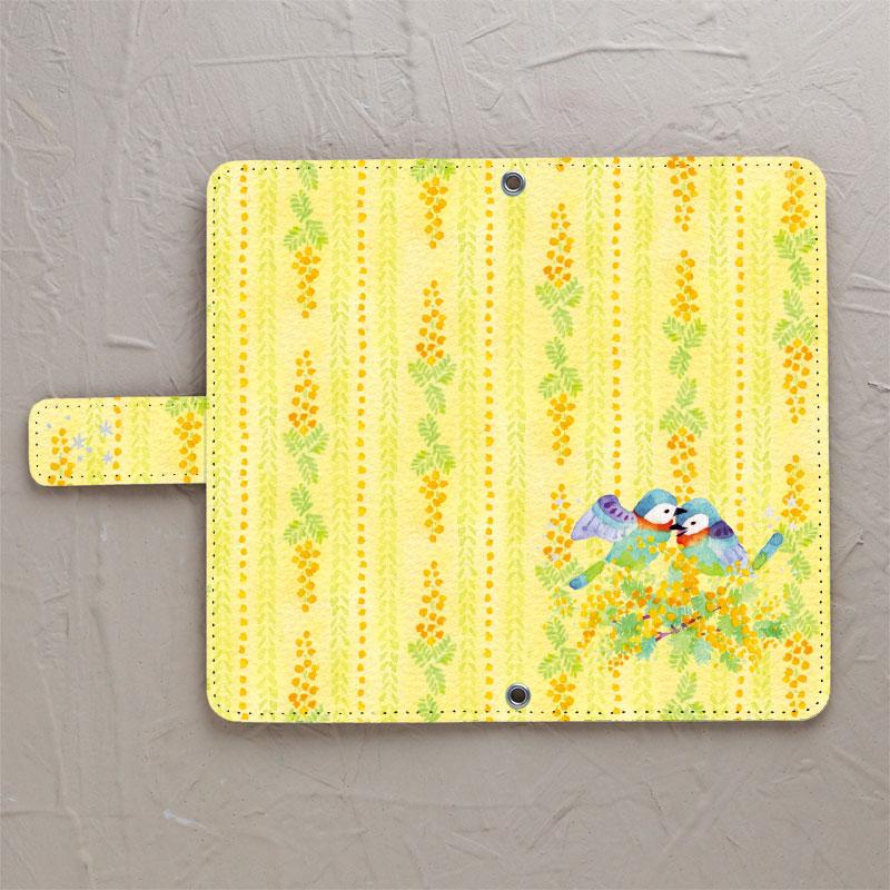 【鏡付き手帳型】ミモザの小鳥