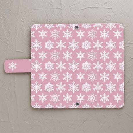【鏡付き手帳型】雪結晶ピンク