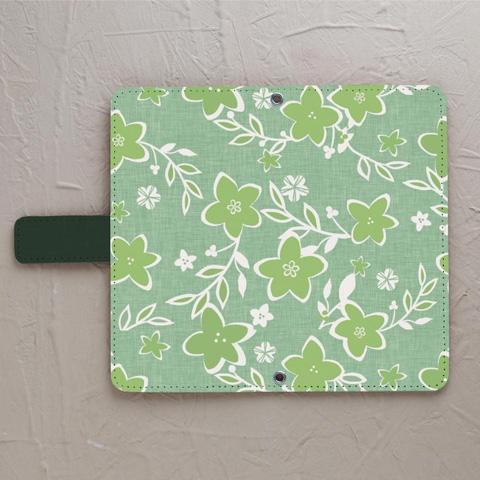 【鏡付き手帳型】優しいシックな花柄 グリーン系