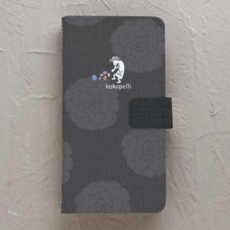 【手帳型】ココペリ 黒系花柄