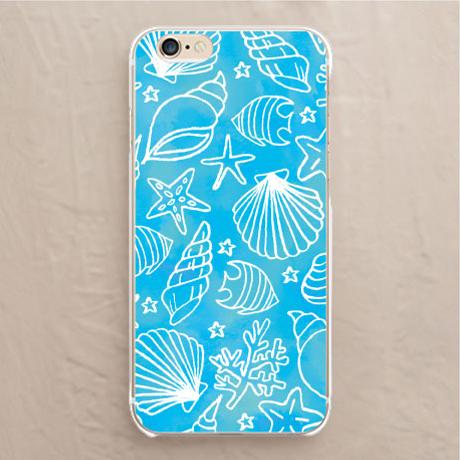 【カバー】海と貝殻(水彩ブルー)
