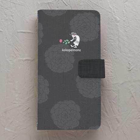 【手帳型】ココペルマナ 黒系花柄