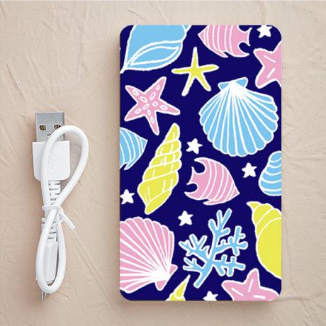 【充電器】海と貝殻(カラフルネイビー)
