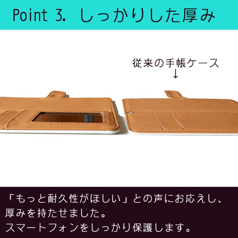 【鏡付き手帳型】四角ドット柄 ホワイト