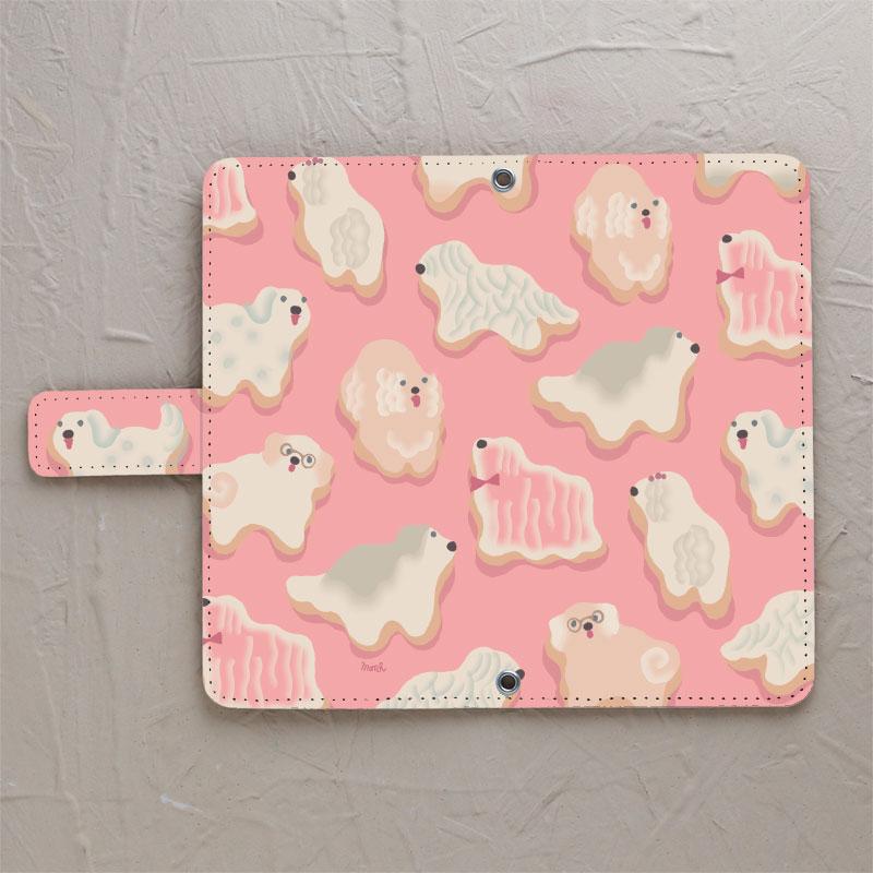 【手帳型】ビッグドッグ ピンク