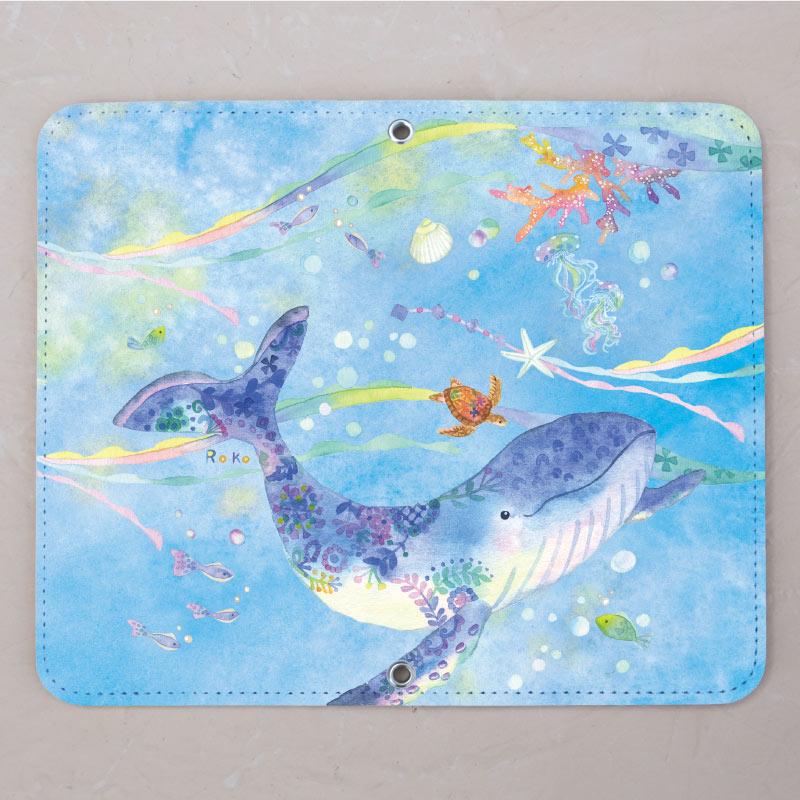 【ベルトなし手帳型】クジラと青い海