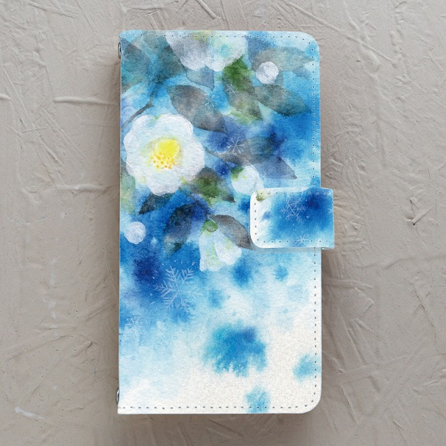 【手帳型】雪の白椿