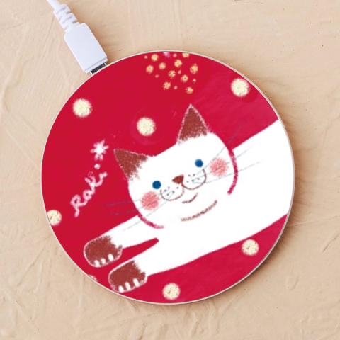 【ワイヤレス充電器】猫と猫じゃらし シャム猫