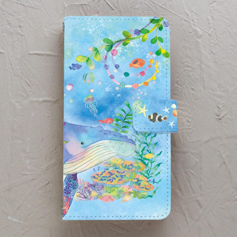 【手帳型】クジラとサンゴ礁