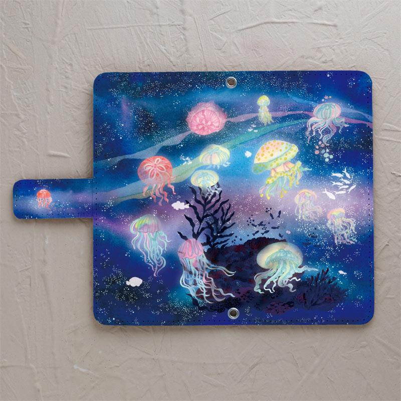 【鏡付き手帳型】クラゲと星降る夜に