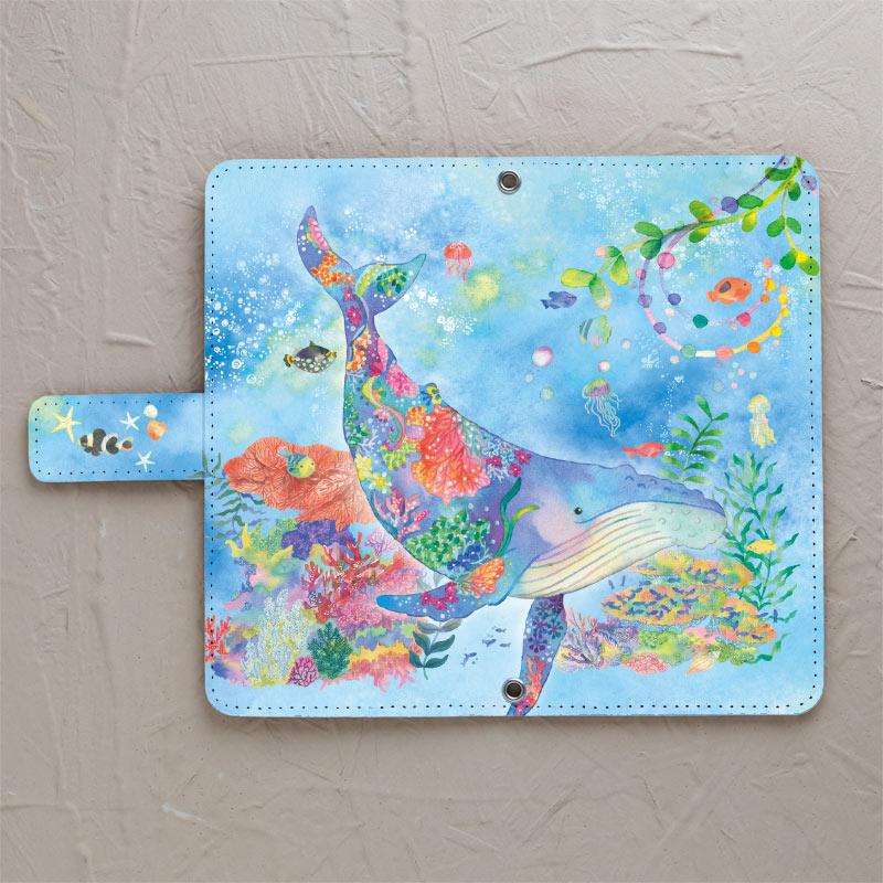 【鏡付き手帳型】クジラとサンゴ礁
