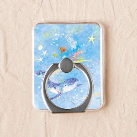 【スマホリング】クジラと青い海