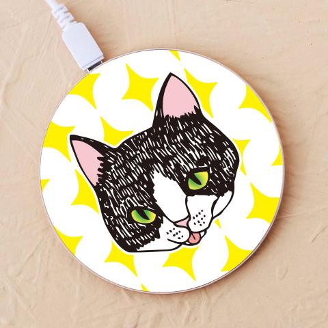 【ワイヤレス充電器】舌をしまい忘れた猫2-キラキラ-