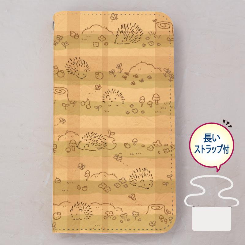 【ベルトなし手帳型】ハリネズミのおさんぽ
