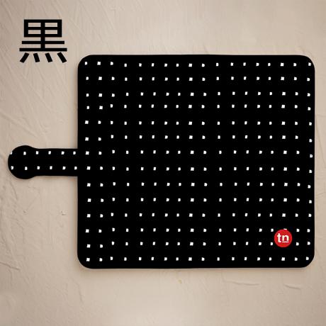 【鏡付き手帳型】四角ドット柄 ブラック